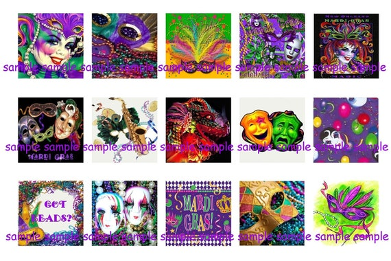 INSTANT DOWNLOAD...Mardi Gras...1 Inch Square Images Collage Sheet for Glass Pendants ...Buy 3 get 1