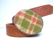 CLEARANCE Needlepoint Pink n Green Plaid Belt Buckle