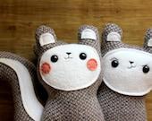 Squirrel plushie, stuffed squirrel toys, plush toy squirrels, squirrel softie, handmade plush squirrels, Bon Bon and Belchick pair