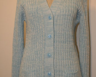 1970's Button Down Cardigan Sweater // 70s Sweater // Hippie Girl // Ice Blue Sweater // Baby Blue // 36 Bust