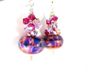 Purple & Peach Glass Earrings, Crystal Dangle Earrings, Boro Lampwork Earrings, Colorful Glass Earrings, Art Glass Earrings - Tuitti Fruitti