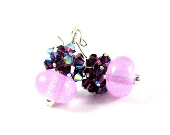 Orchid Purple Earrings, Amethyst Crystal Earrings, Pink & Purple Earrings, Cluster Earrings, Boro Lampwork Earrings, Glass Earrings - Nectar