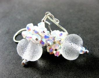 Crystal Cluster Earrings, Snowball Earrings, Holiday Jewelry, White Earrings, Boro Lampwork Earrings, Snow & Ice Earrings, Bridal Jewelry