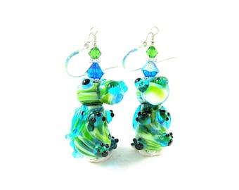Dragon Earrings, Mythical Earrings, Dragon Jewelry, Lampwork Earrings, Neon Green Blue Earrings, Animal Jewelry - Magic Dragon