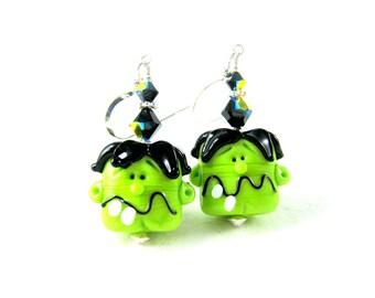 Frankenstein Earrings, Halloween Earrings, Monster Earrings, Lime Green Black Lampwork Earrings, Scary Creepy Funny Earrings - Frankenstein