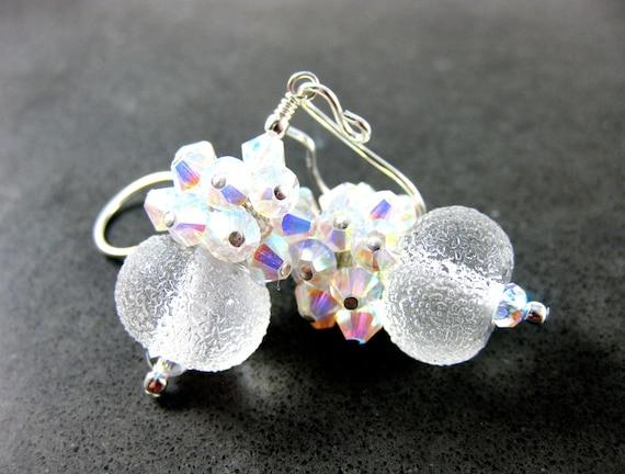 Snowball Earrings, Crystal Cluster Earrings, Boro Lampwork Earrings, Ice Earrings, White Beadwork Earrings, Bridal Earrings - Snowballs