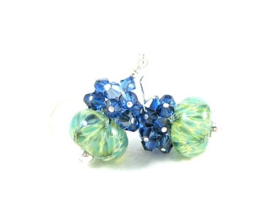 Blue & Green Earrings, Blue Crystal Cluster Earrings, Boro Lampwork Earrings, Beadwork Earrings, Mint Green Earrings - Aegean Sea