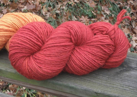 Red--4 Ounce Worsted Skein--Wool Mohair Blend--180 Plus Yards--Plant Dyed