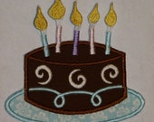 """Embroidered Iron On Applique """"Birthday Cake""""  -   Custom Orders Welcome"""