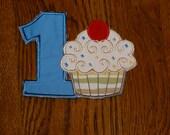 "Birthday Embroidered Iron On Applique  ""Cupcake"""