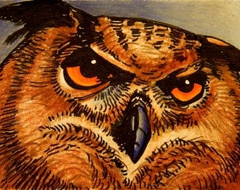 Horned Owl Original Art ACEO