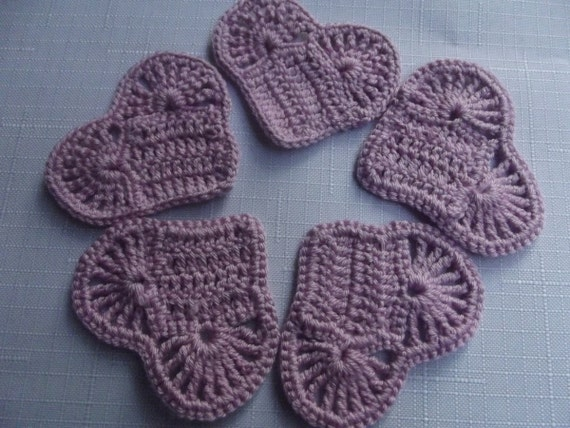 5 Pcs Cotton Handmade Crochet Applique Heart...Pattern Applique...Crochet  Coaster...Embellishment...Purple