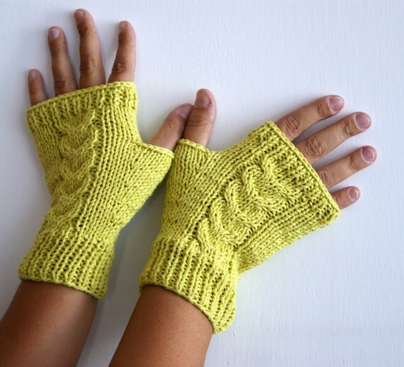 Lime fingerless gloves