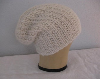 Chunky, Slouchy Hat for Women or Men. Hand Knit, 100 Percent Baby Alpaca Beanie in Winter White or Cream. Winter Accessories.