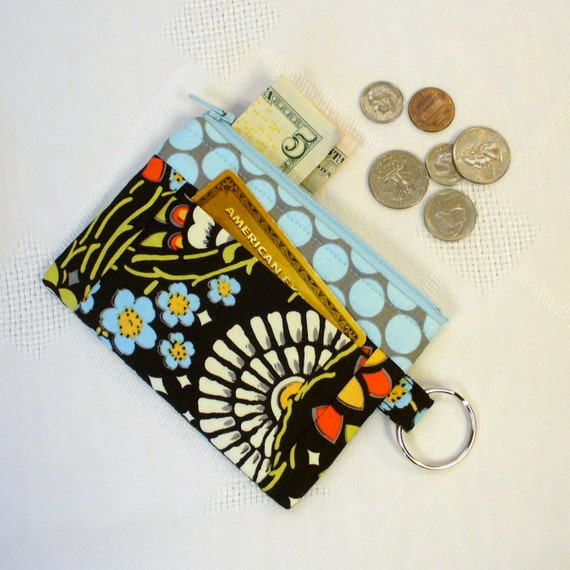 Amy Butler Fabric Geisha Fans Black Olive Zipper Coin Purse Card Slot Key Ring Fob Lotus Change Purse Fabric Wallet MTO