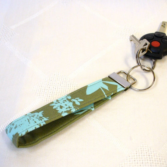 Wristlet Key Fob Joel Dewberry Fabric Wildflowers Sage Green Aqua Blue Keychain Keyring Fob