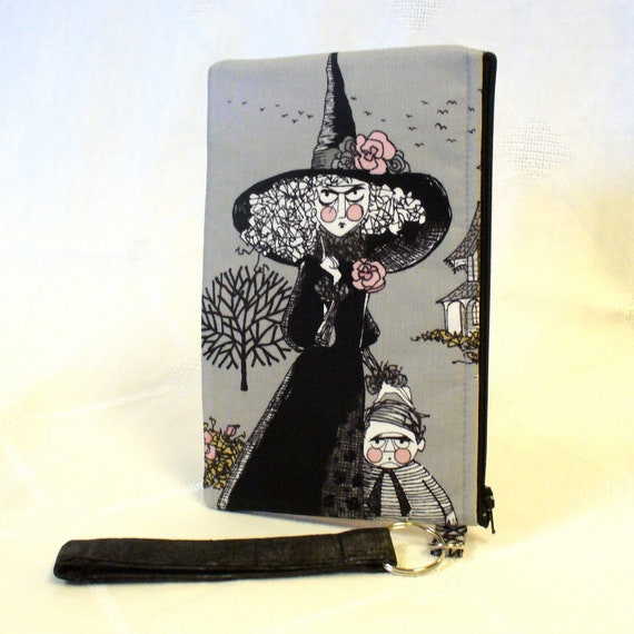 The Ghastlies Halloween Wristlet Clutch Purse Cosmetic Bag Witch Makeup Bag Key Fob Smoke Gray Grey Black Alexander Henry Ghastly