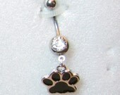 14 guage belly ring paw prints