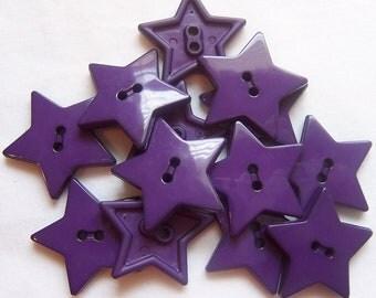 Purple Star Buttons - 1 inch ~ YOU PICK QUANTITY - 5 thru 143