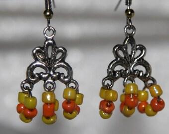 30% OFF SALE--Yellow Orange Glass Bead  Dangling Earrings