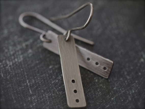 Small, simple, modern rectangle sterling silver earrings