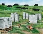 "Honeybee Art Print ""Pasture Traffic"" by Roby Baer PSA"