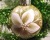 Gold Christmas Ornament with white and gold Poinsettia can be personalized - PrettyStrokes