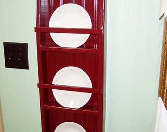 Plate Rack Primtive Pine 3 Rack Plate Holder Red Country Rustic
