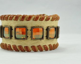Bison Leather Cuff with Copper Chessboard Crystals and Copper Colored Lacing