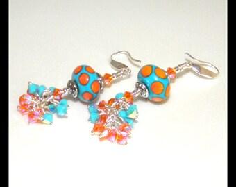 Earring with Lampwork Beads, Swarovski Crystals Earrings,Sterling Silver Earrings,Christmas Gift