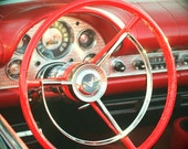 Big Red Steering Wheel Photograph, Classic Car Photo, Abstract Car Art, Old Automobile Print, Square Wall Print, Man Cave Garage Art Decor
