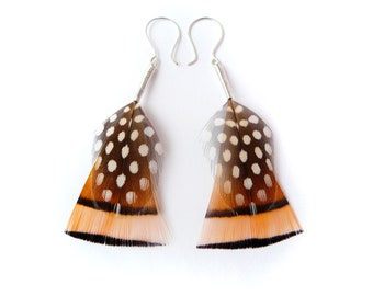 Burnt Orange Geometric Feather Earrings with Black Spots and Stripes