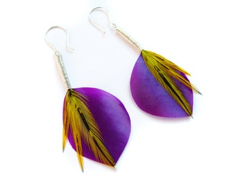 Shiny Leaf Shaped Feather Earrings in Satin Purple with Yellow Accents