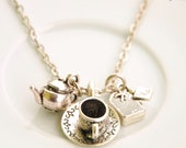 teapot necklace - charm necklace - time for a hot drink - teapot, tea cup and tea bag necklace - alice in wonderland