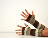 Cashmere Long Gloves Fingerless Gloves Arm Warmers Knitted Brown Ivory Green Shades Winter Accessories