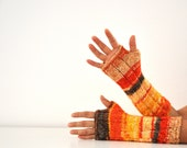 Fingerless Mittens Long Gloves Fingerless Gloves Arm Warmers Knit Yellow Orange Brown Autumn Accessories Fall Fashion