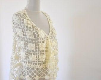 Crochet Shawl Weddings Shawl Ivory Mohair Delicate Chic Romantic