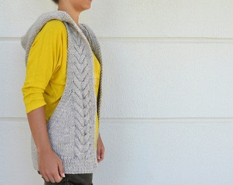 Women Sweater Cardigan Vest Hooded Vest Stone Natural