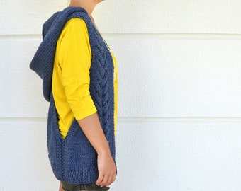Hooded Sweater Cardigan Women Hooded Vest Blue Denim Blue Sapphire Hand Knit Chunky Knits