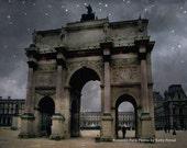 Paris Photography, Arc de Triomphe Louvre, Paris Louvre Blue Starry Night, Dreamy Paris Louvre Night, Paris Blue Stars Fine Art Photography