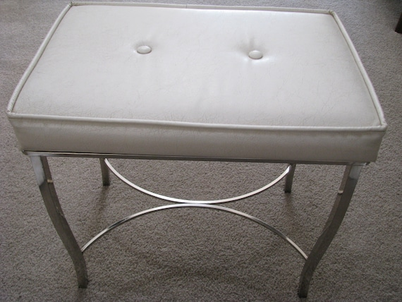 Vintage Chrome White Vinyl Padded Vanity Bench Stool Chair
