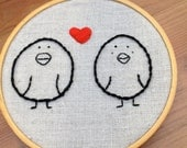 Silly love birds hand embroidery