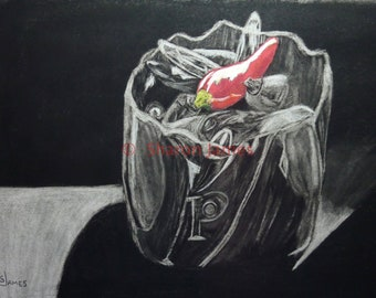 Red Hot Pepper Pot, 16x20, Charcoal, pastel drawing by Sharon James