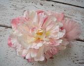 Fascinator, Flower Hair Clip, Pink Flower, Spring, Bridesmaid, Easter Accessories, Feather Hair, Hair Clip- BABYDOLL