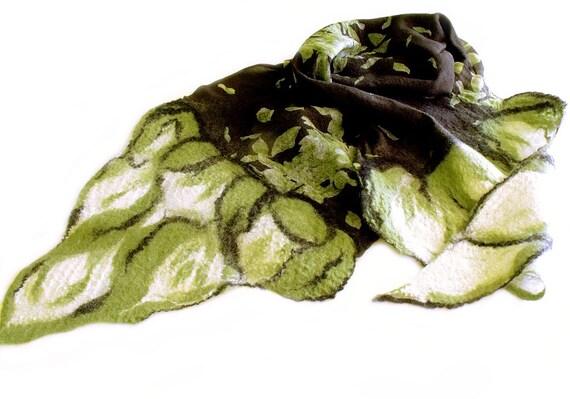 Nuno felt scarf silk chiffon wool black white green autumn fashion scarf
