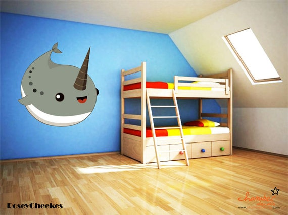 Cute Narwhal Wall Decal - Rosey Cheekes