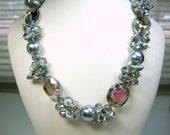 Bold Silver Pearls Silver Crystals Necklace Bride Bridesmaid Mother of Bride Wedding Jewelry