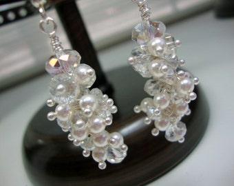 Tiny Pearl and Crystal Elegant Earrings Bridal Wedding Bridesmaids Earrings