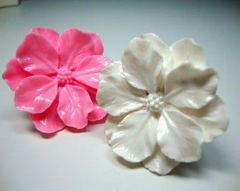 Teens, Adjustable Ring, Pink or White Flower