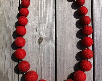 Felted Wool Necklace - Mandarin Crimson